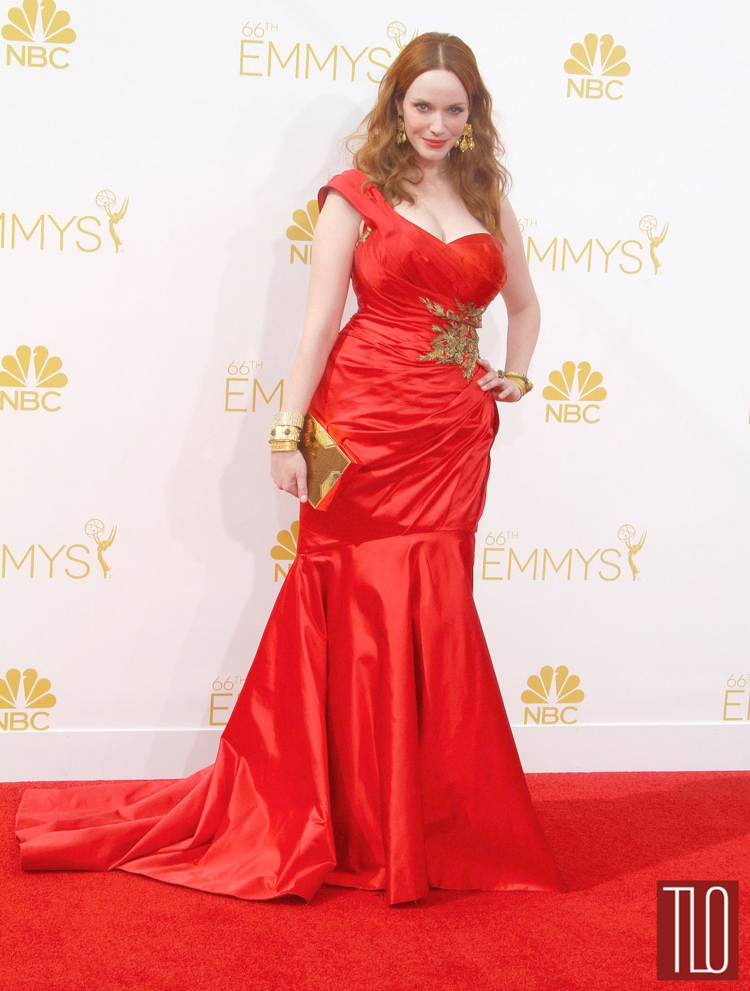Emmys 2014 Christina Hendricks In Marchesa Tom Lorenzo