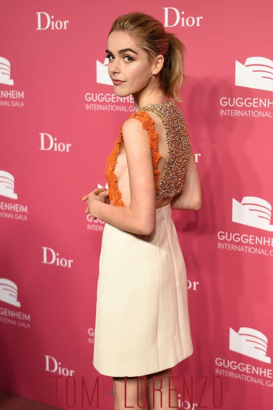 kiernan shipka in dior couture at the 2015 guggenheim