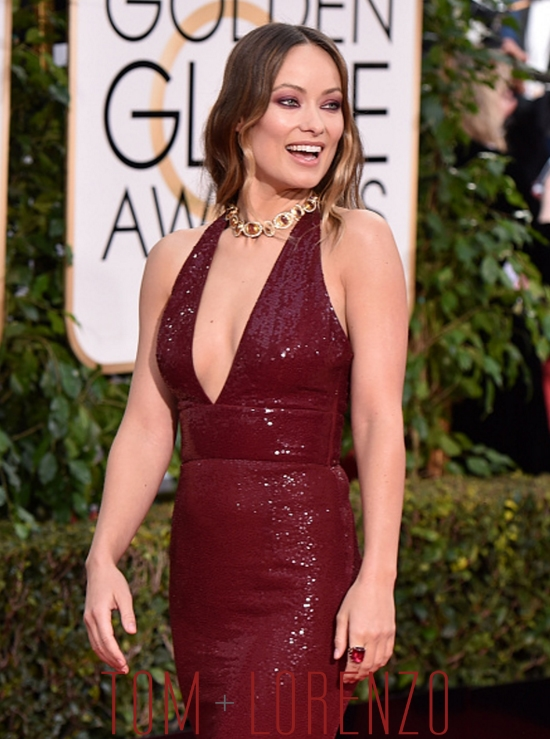 Golden Globes Olivia Wilde In Michael Kors Tom Lorenzo
