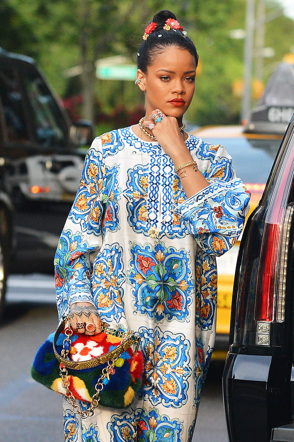 Rihanna Heads Out In NYC In Dolce&Gabbana