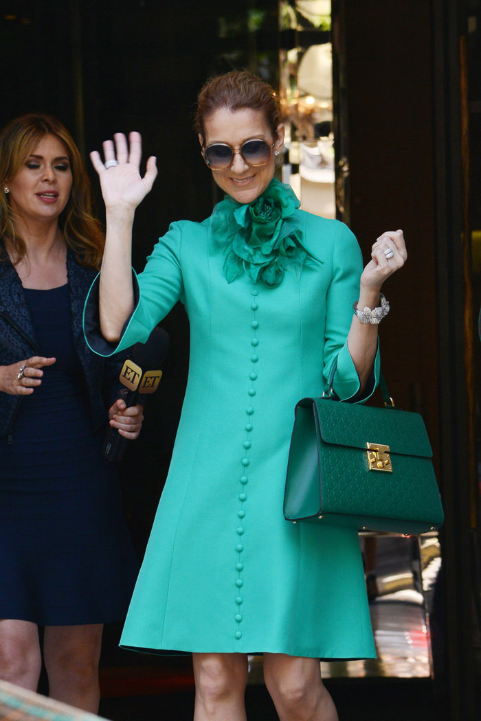 Celine Dion Leaves Her Hotel In Paris In Head To Toe Gucci Tom Lorenzo