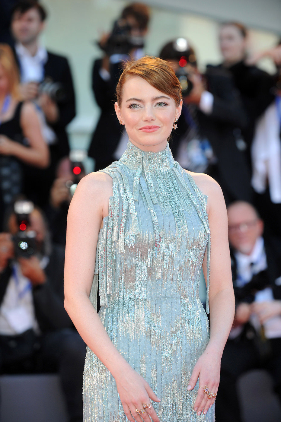 Emma stone in atelier versace at the venice film festival for Tile fashion 2016