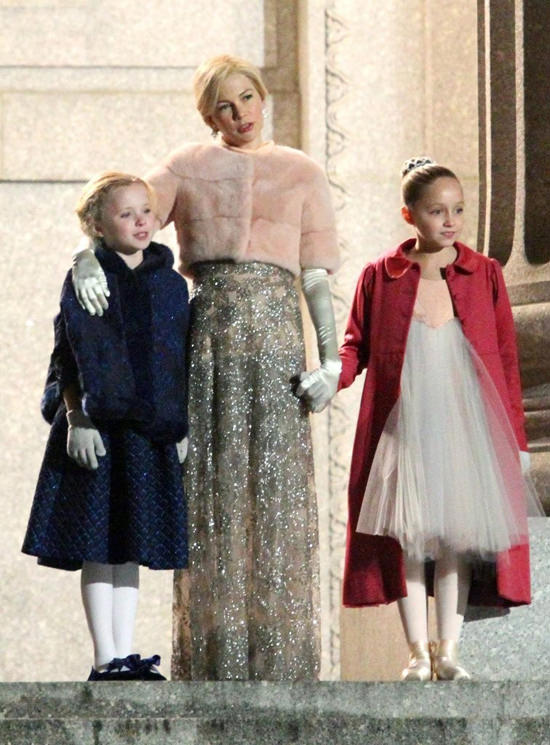 Hugh Jackman And Michelle Williams In Period Costumes On The Set Of