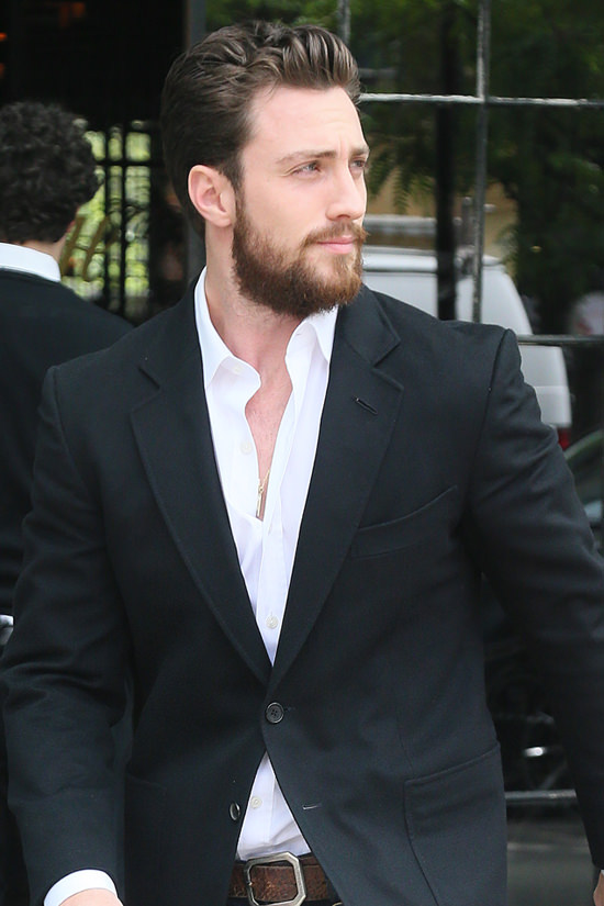 "Aaron Taylor-Johnson Struts as He Heads to His ""Build ..."