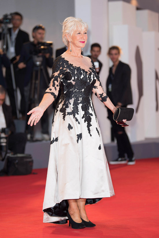 Helen Mirren Serves up Retro-Tinged Pretty at the 2017 ...