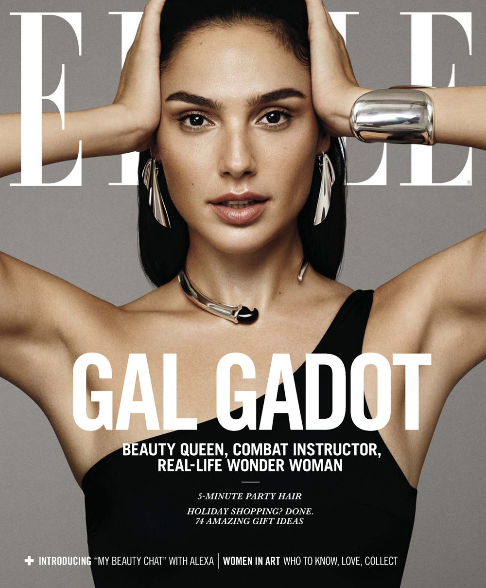gal gadot covers the december 2017 issue of elle magazine