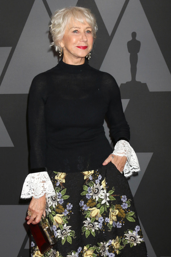 Style File Helen Mirren Serving Up Leather And Lace At
