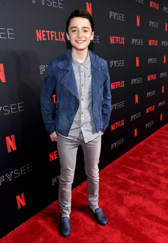 Noah Schnapp And Millie Bobby Brown At Netflix S Fysee
